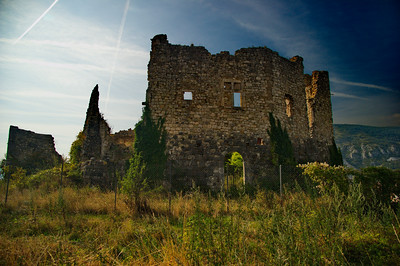 This is an old castle ruins that sits on the hill above the village of Greolieres