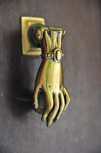 "France has the coolest door knockers.  This is a popular ""hand of Fatima"" door knocker."