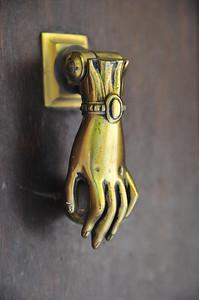 """France has the coolest door knockers.  This is a popular """"hand of Fatima"""" door knocker."""