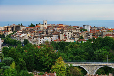 Vence old town and the Mediterranean in the distance