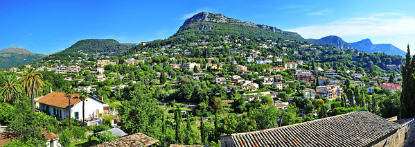 The view of the surrounding hills north of Vence taken from the old town wall