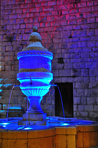 Vence water fountain at night