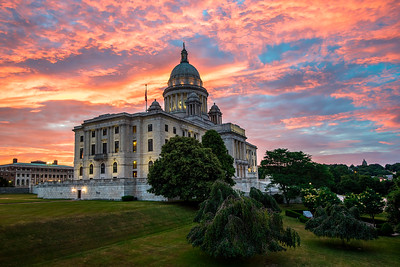 Rhode Island State House before sunrise