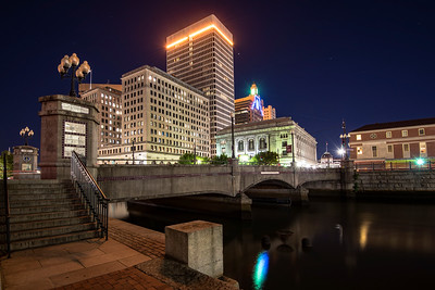 Washington Street Bridge at night, Downtown Providence, RI