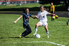Providence #4 Jordan Reger Taking the ball down the field against Switzerland County #9 Jade Mullins.
