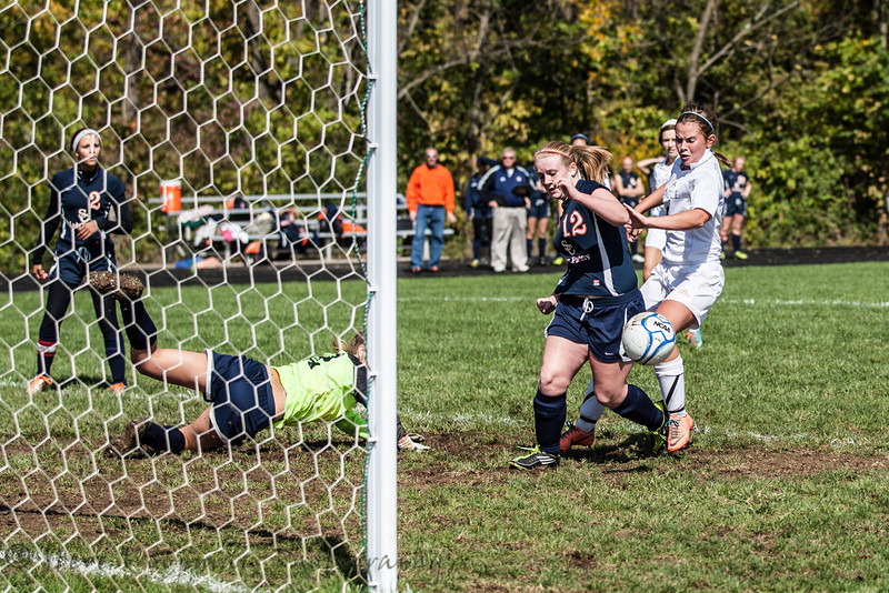 Providence #8 Katie Barron going for the loose ball against Switzerland County  #12 Kacie Kimmel