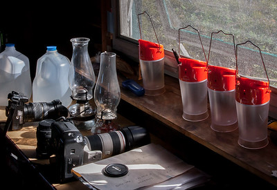 Solar and oil lamps.  The only source of lights in the shacks.