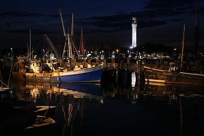 MacMillan's Wharf with the Provincetown Monument lighting up the twilight sky.  The Chico & Jess, the oldest fishing boat in the fleet sunk in 2008. This photo was used for a two page feature in the 2007 Provincetown Pocketbook Magazine.