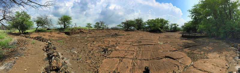 This panoramic shot doesn't capture the extent of the field of petroglyphs. The main visitor overlook (entrance) is on the right.  Lava rock walls define a path around the 233-acre site.