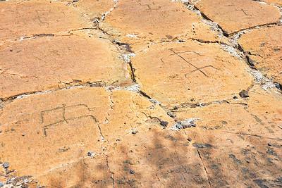 Closeup of just a few of the over 3000 petroglyphs