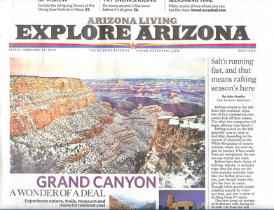 Special for the Arizona Republic, front page above the fold image of the Grand