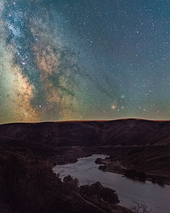 "4 - After suffering damage from the 2018 Substation fire the Deschutes River surrounding area looked reminiscent of an alien landscape.  As I walked along the river in the dry heat of summer I found every step kicked up a small plume of ash making it ""interesting"" to breathe. I knew the Milky Way would line up with the twist in the river for just a short time period and took advantage of a cloudless and moonless night."