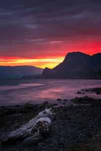 5 - A fiery sunrise above one of my favorite cliffs in the Gorge.  This was taken from the beach of Viento State Park after driftwood had been washed ashore.