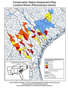 Conservation Status Assessment Map for Lowland Shiner (Pteronotropis stonei)