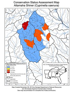 Conservation Status Assessment Map for Altamaha Shiner (Cyprinella xaenura)