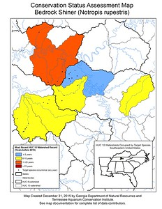 Conservation Status Assessment Map for Bedrock Shiner (Notropis rupestris)