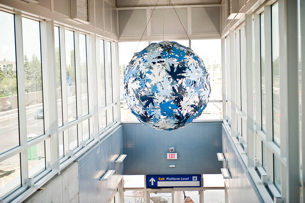 The art piece 'Continuum' hangs at Century Park Station