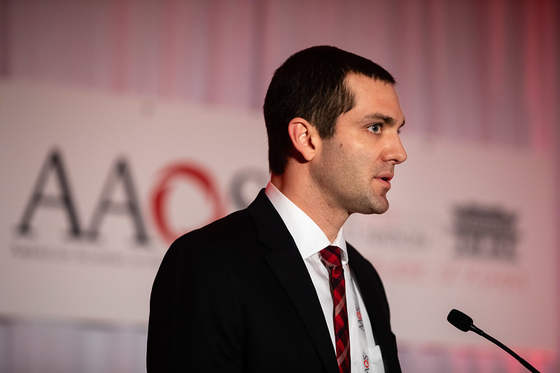 Kyle Andrews, MD, speaks during Clinical Outcomes of Combined Surgical Treatment of Medial Epicondylitis and Cubital Tunnel Syndrome