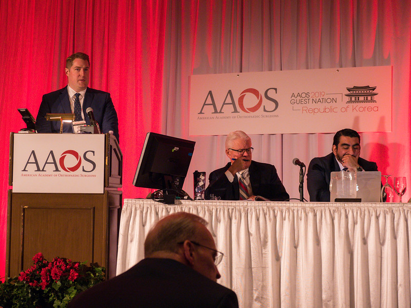 Thomas Hickernell, MD speaks during Should Cannabinoids Be Added to Multimodal Pain Regimens After Total Joint Arthroplasty?