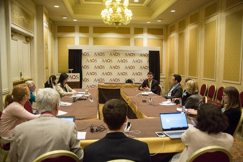 Bryan D. Springer, MD, speaks during Media Round Table(s)