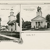 Locke, NY postcard showing the Baptist Church and the Raising the New Bell, M. E. Church. (Photo ID: 45326)