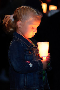 Regan Richards at a candlelight vigil in honor of her friend, 4-year old Jeremiah L. Bradford 10/02/10
