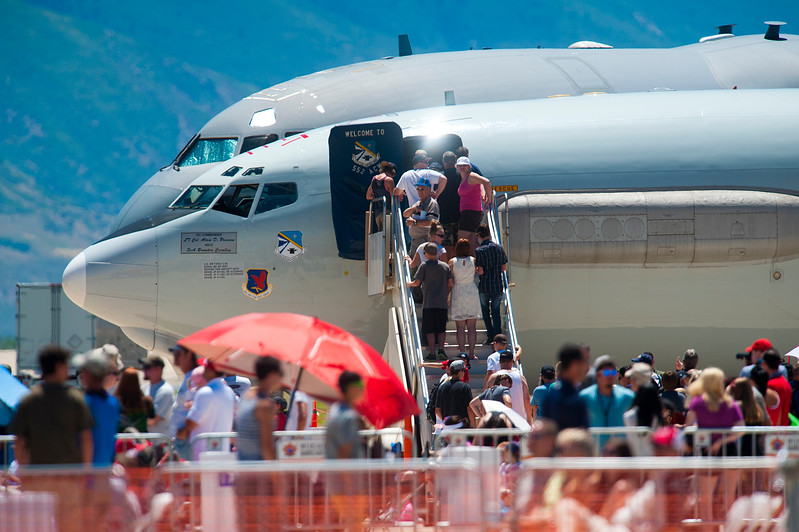 Air Show visitors check out the plans at Hill Air Force Base. In Layton On June 29, 2014.  (BRIAN WOLFER/Standard-Examiner)