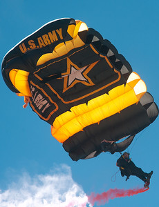 Golden Knights sky dive at the Hill Air Force Base Air Show. In Layton On June 29, 2014.  (BRIAN WOLFER/Standard-Examiner)