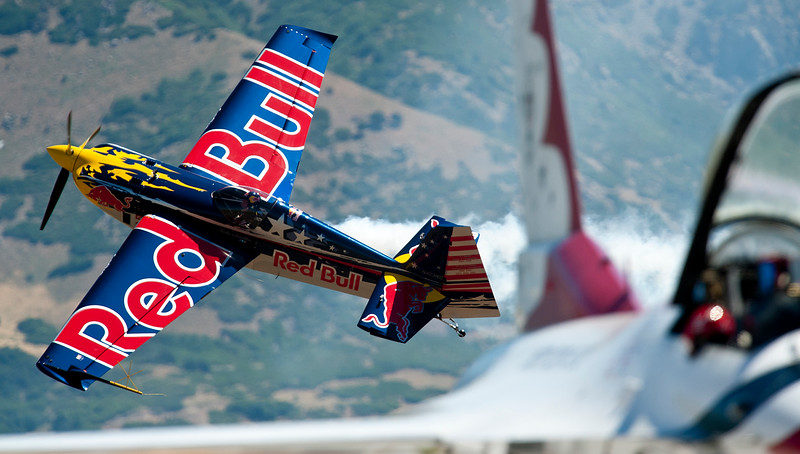 The Red Bull plane wow the crowd with low flying capabilities. In Layton On June 29, 2014.  (BRIAN WOLFER/Standard-Examiner)