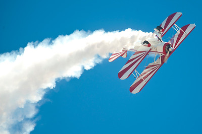 A Biplane pilot performs at the Air Show. In Layton On June 29, 2014.  (BRIAN WOLFER/Standard-Examiner)