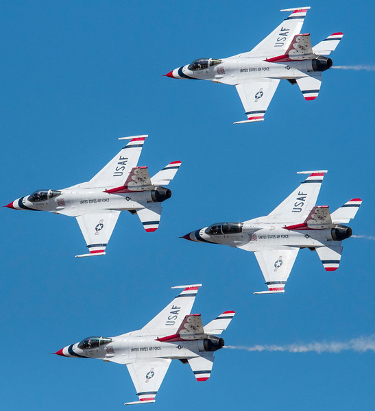 Thunderbird pilots fly in formation during the Warriors Over the Wasatch air show on Hill Air Force Base in Layton on June 26, 2016.