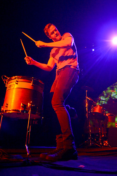 Dan Reynolds plays the drums with a lot of energy at the Imagine Dragons concert. At the Dee Events Center, In Ogden, on October 23 2013. (Brian Wolfer Special to the Standard-Examiner)