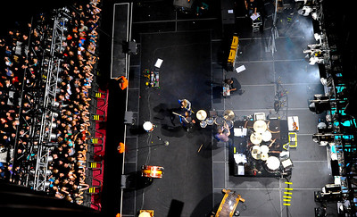 A areal shot of the band Imagine Dragons performing At the Dee Events Center in Ogden on friday. October 23 2013. (Brian Wolfer Special to the Standard-Examiner)