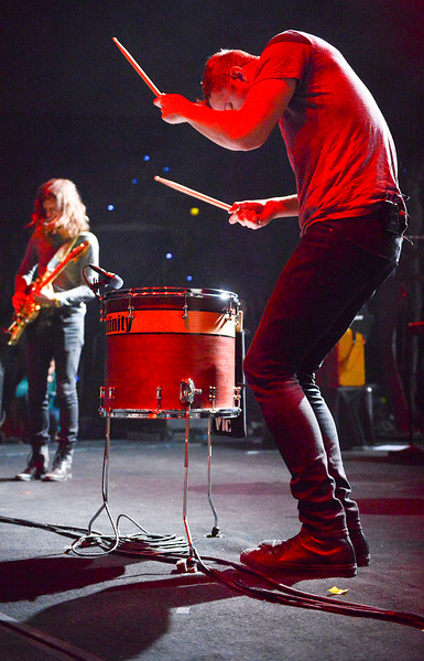 Lead Vocalist Dan Reynolds plays the drums at the sold out Imagine Dragons concert. At the Dee Events Center In Ogden. On October 23 2013. (Brian Wolfer Special to the Standard-Examiner)
