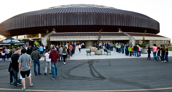 Lines stretch out to the parking lot at the sold out concert of the band Imagine Dragons. At the Dee Events Center in Ogden On October 23 2013. (Brian Wolfer Special to the Standard-Examiner)