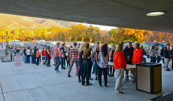 People line up early to catch a glimpse of the band Imagine Dragons. At the Dee Events Center in Ogden On October 23 2013. (Brian Wolfer Special to the Standard-Examiner)