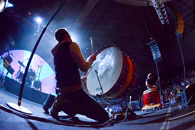 Dan Reynolds beats the drum in dramatic fashion at the Imagine Dragons concert. In Ogden, on October 23 2013. (Brian Wolfer Special to the Standard-Examiner)