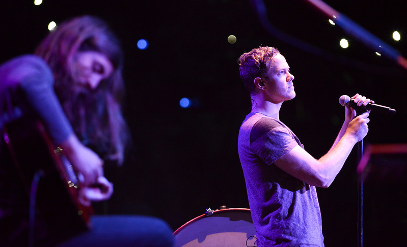 Imagine Dragons  plays a acoustic song to slow things down. At the Dee Events Center In Ogden. On October 23 2013. (Brian Wolfer Special to the Standard-Examiner)