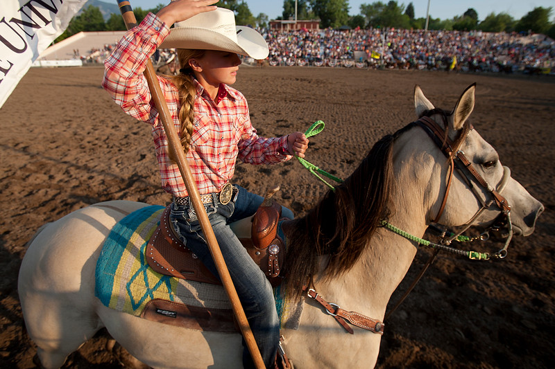 Jr Posse kids ride during the Pioneer Days Rodeo. In Ogden, on July 19, 2014. (BRIAN WOLFER/Standard-Examiner)