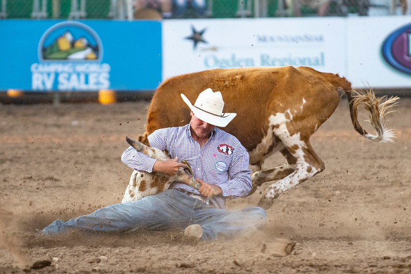 Zack Jongbloed wrestles down a calf at the Ogden Pioneer Days at Pioneer Stadium on Saturday July 25, 2021.