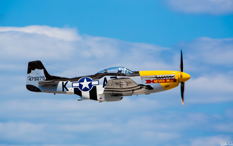 Never Miss | This P-51D Mustang, affectionately nick named Never Miss, was in service from 1945 to 1956.  Fortunately it never saw military action.   In 1996 she was named Never Miss by James Elkins who owned it for 13 years.