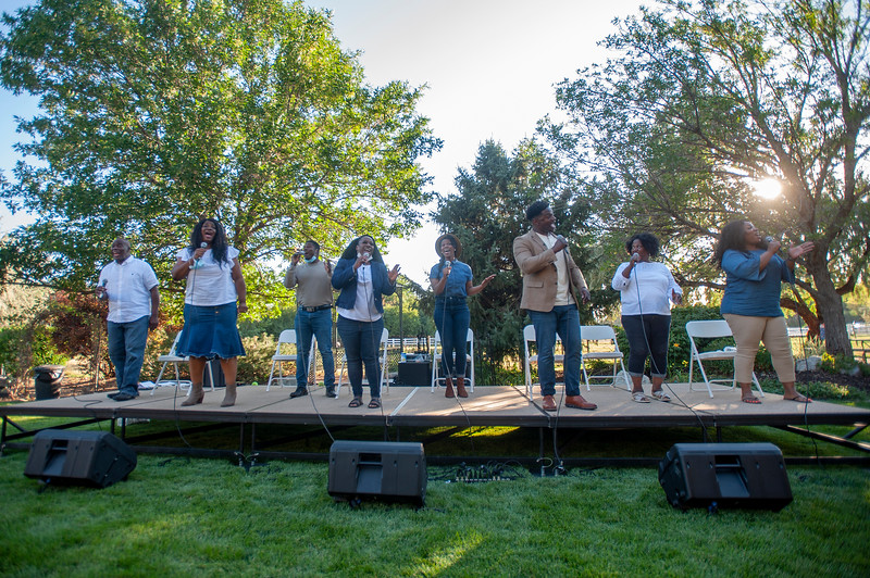 Kaysville community group formed with the goal of building racial unity among residents. In Kaysville, on August 14, 2020. The Together We Rise panel discussion and concert takes place in the backyard of the residence.