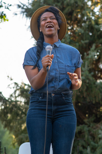 Yoyoo Bonner performs during the Together We Rise panel discussion and concert. In Kaysville, on August 14, 2020.