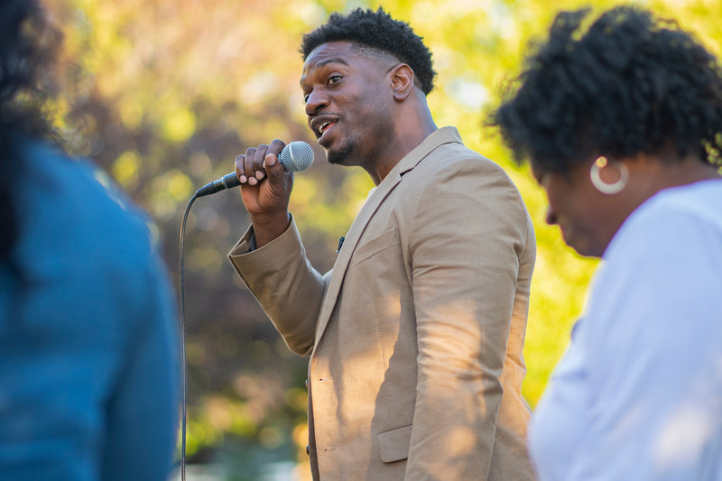 Yahosh Bonner performs during the Together We Rise panel discussion and concert. In Kaysville, on August 14, 2020.