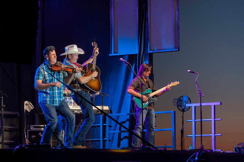"Tracy Byrd and openers Drive country band perform to a crowd practicing social distancing, during the Weber County ""UnFair"" event. At the Golden Spike Arena in Ogden, on August 8, 2020."