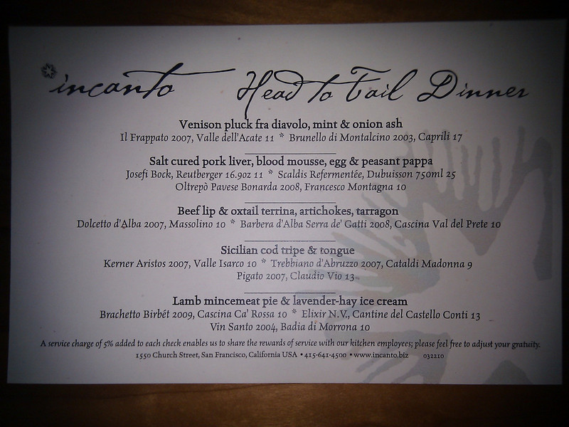 Incanto - Head to Tail Dinner Menu