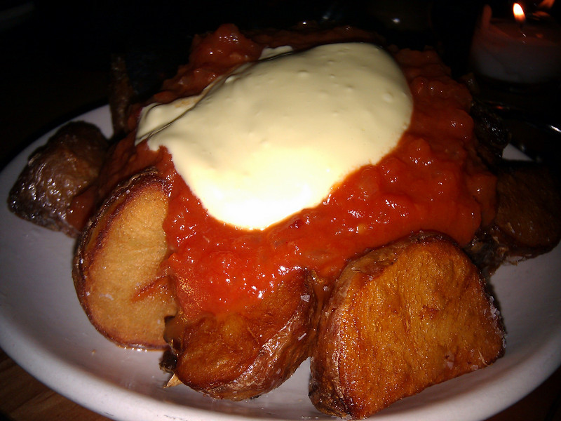 Contigo - Patatas Bravas (Fried Potatoes with Allioli and Salsa Brava)