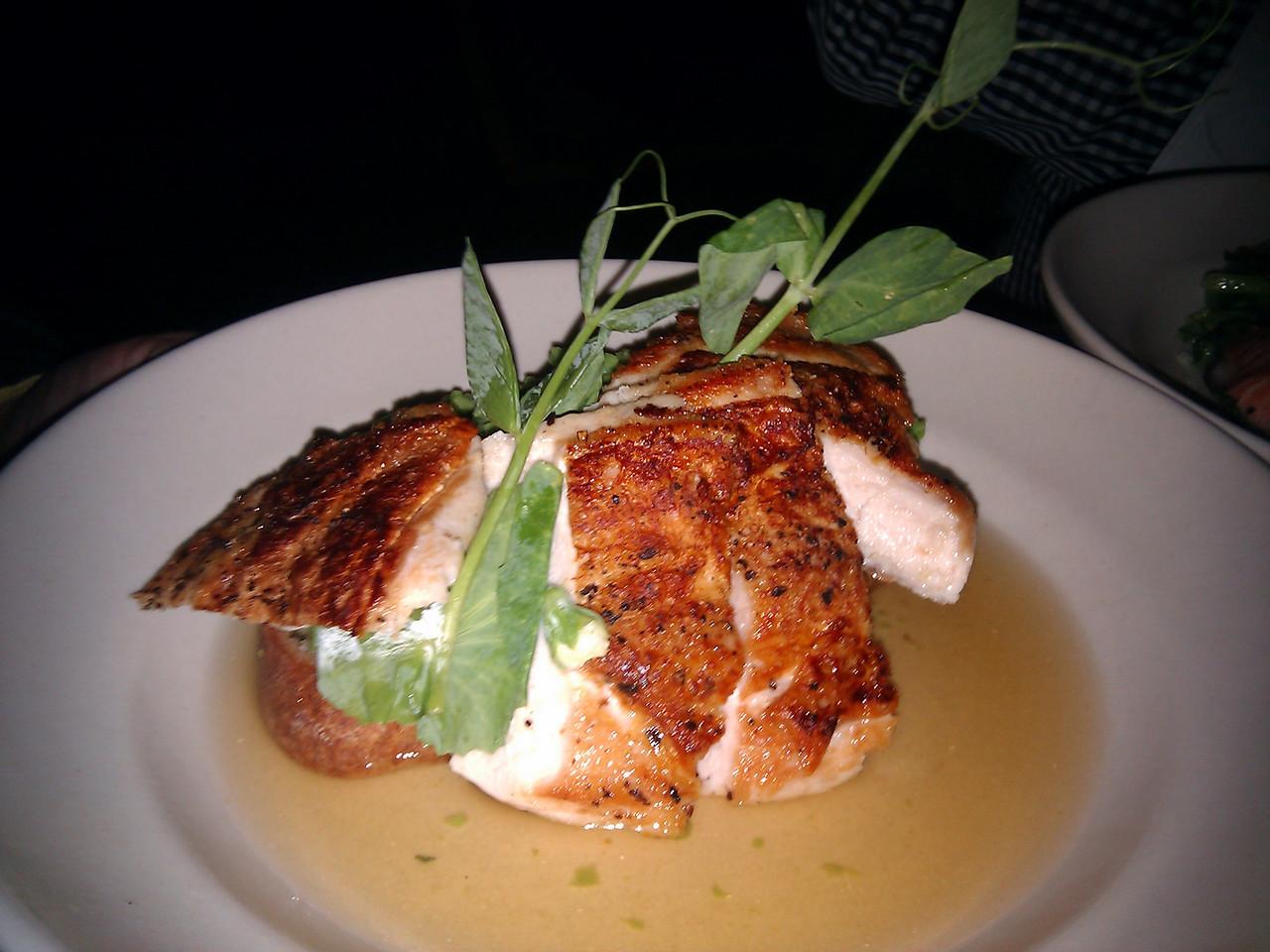 Contigo - Soul Food Farm Chicken Breast (with a Spring Pea and Mint Toast and Meyer Lemon Caldo)