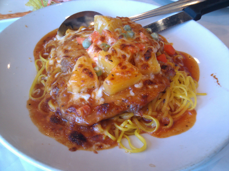 Red Ant - Hawaiian Baked Pork Chop with Spaghetti