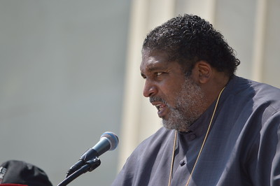 """Rev. William Barber of the """"Poor People's Campaign"""", speaks from the steps of the Lincoln Memorial at the """"Make Good Trouble"""" rally for voting rights in Washington, DC on August 28th, 2021."""